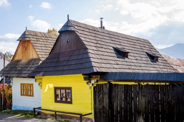 Homes in the village of Vlkolinec, a UNESCO World Heritage Site in Slovakia