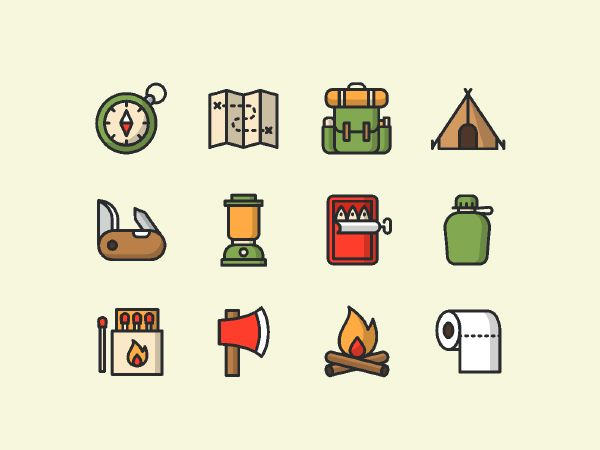A set of coloured and lined vector camping icons in both illustrator and sketch formats; free to download. Item was designed by Salinee Pimpakun; an icon and ui designer; make sure you check her other work.