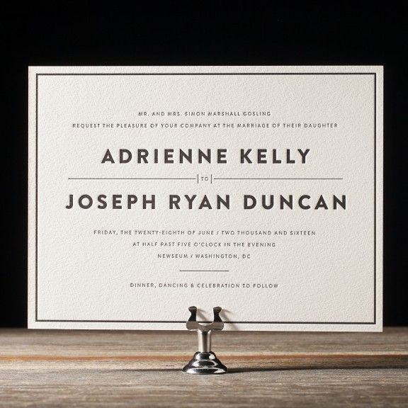 The Duncan letterpress wedding invitation suite by Jessica Tierney for Bella Figura features bold, modern typography and classic black letterpress printing.