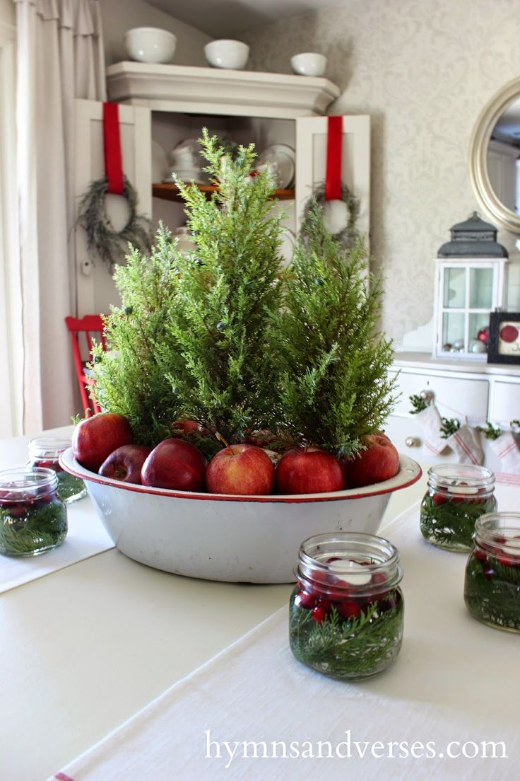 Simple Rustic Centerpiece made with cypress trees and apples by Hymns & Verses