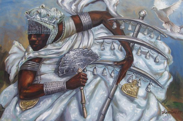 "Obatala (also known as Obanla, Ochanla, or Oxala) is the eldest of the orishas. His name means ""King of the White Cloth,"" and he is the embodiment of peace, reason, logic, and diplomacy. He is the orisha who fashioned the bodies of mankind, while it is Olodumare who breathed life into them. (source)"