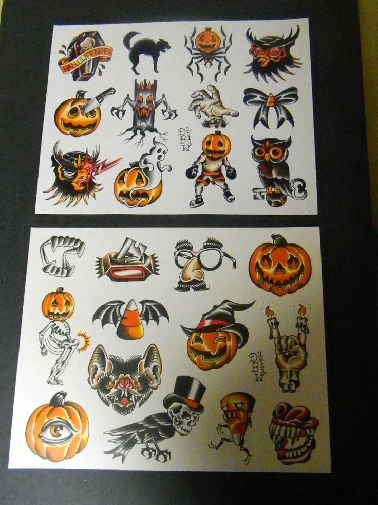 Halloween: Traditional Tattoo Flash Sheet set by DerekBWard on Etsy https://www.etsy.com/uk/listing/110673760/halloween-traditional-tattoo-flash-sheet