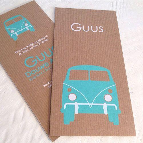 geboortekaartjes zeefdruk mintgroen op kraft karton Guus | birth announcement mint green on brown cardboard