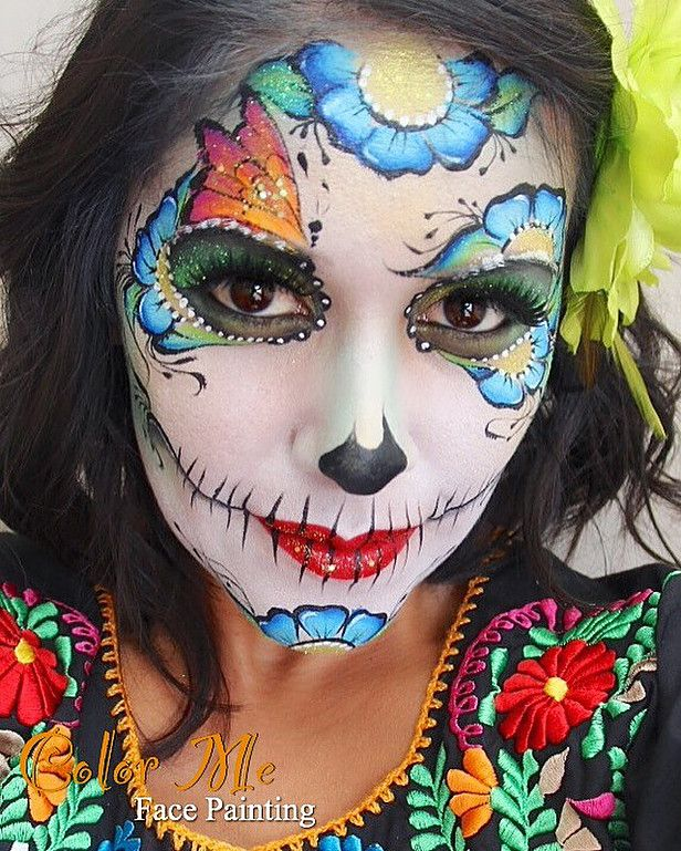 sugar skull face painting color me face painting vanessa mendoza - Skeleton Face Paint For Halloween
