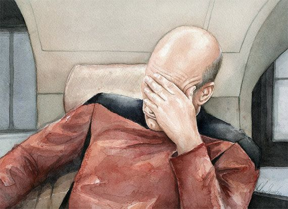 Picard Facepalm Meme Watercolor Star Trek Art by OlechkaDesign