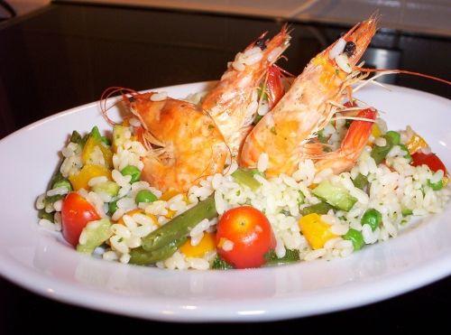 insalata di riso arcobaleno (con gamberi) bimby