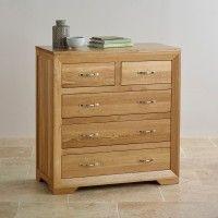 Bevel Natural Solid Oak 5-Drawer Dresser | Dressers | Shop by Product Oak Furniture Land