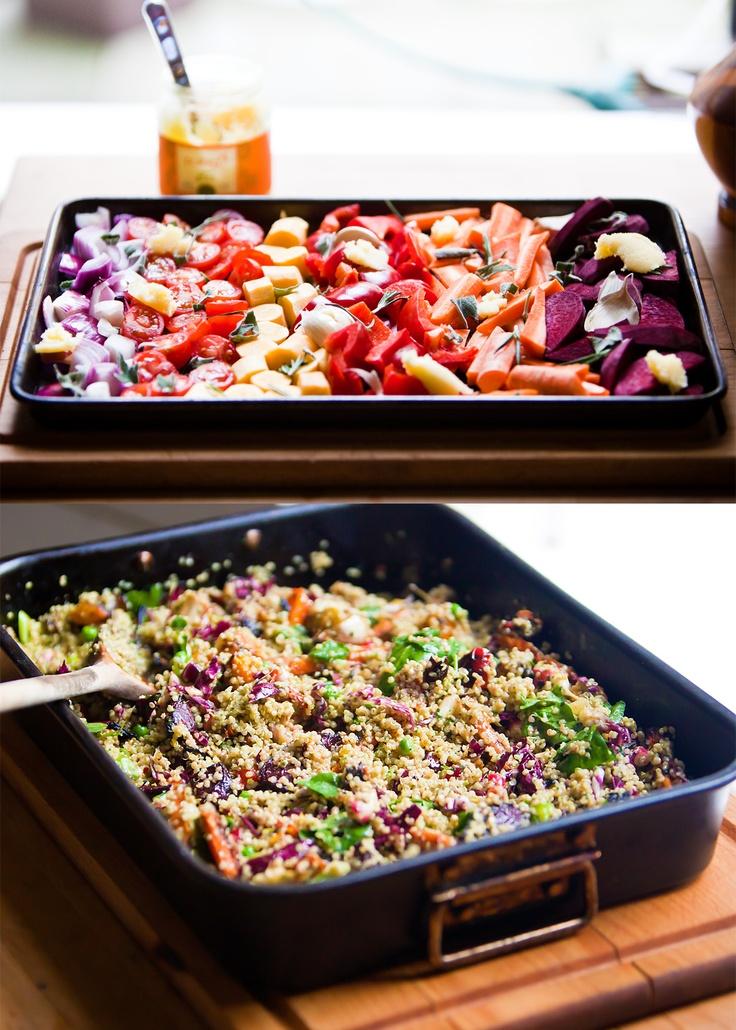 Roasted veg and basil brazil nut pesto quinoa salad #eatingwell