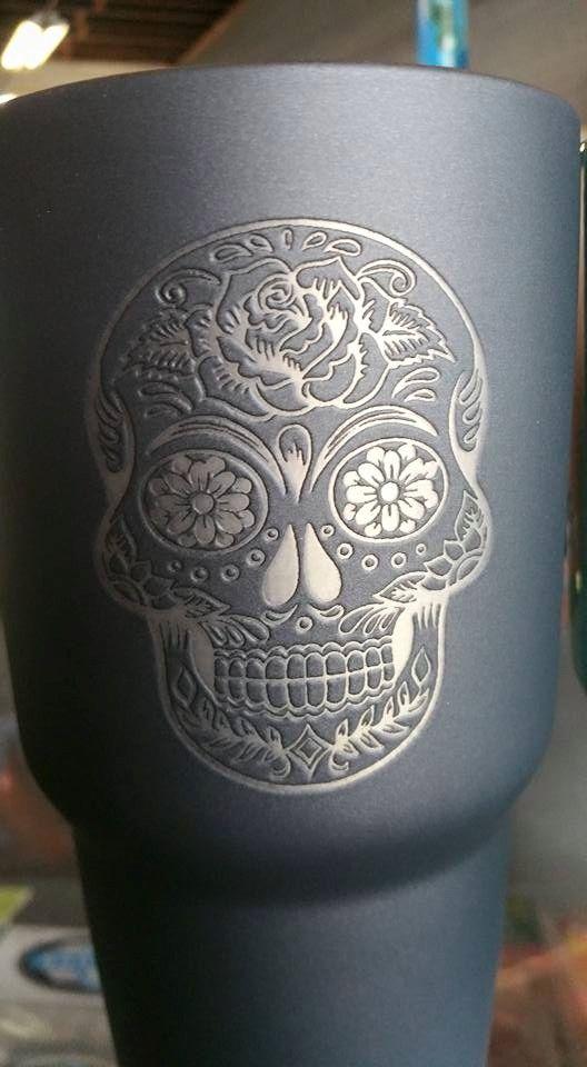 sugar skull cutom yeti 30 ounce rambler, powder coated and laser etched