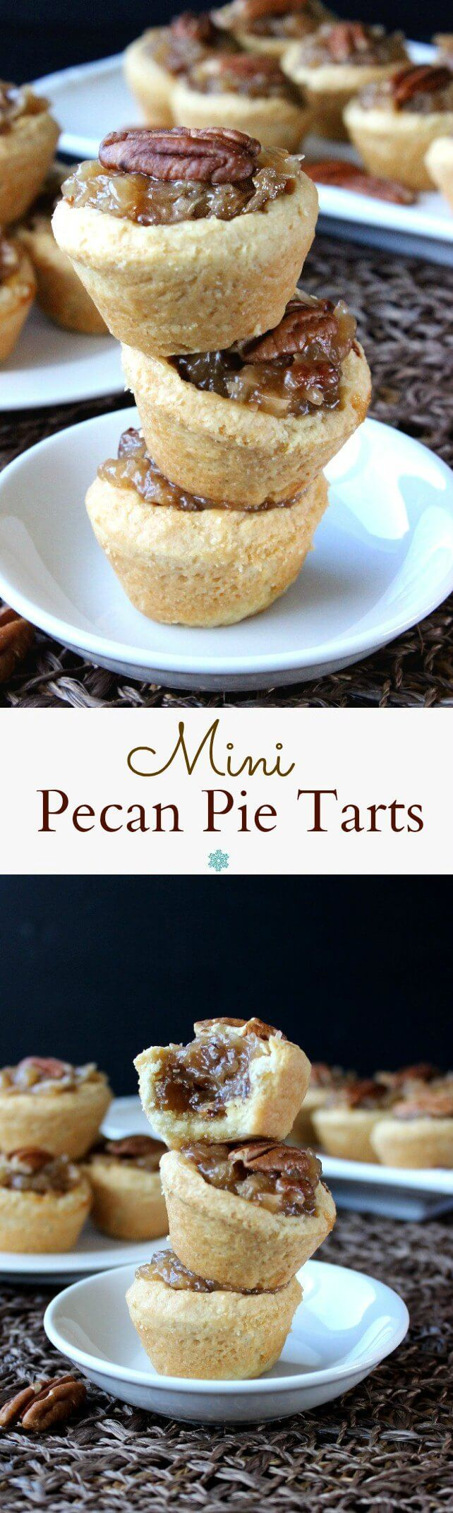 Mini Pecan Pie Tarts are over the top rich and perfect for the holidays. This dessert fits right in at any family gathering or through an elegant party.