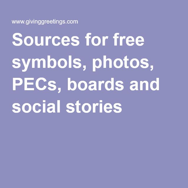 Sources for free symbols, photos, PECs, boards and social stories