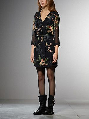 Buy Short dress in patterned silk, with floral print, three-quarter sleeve, 'V' neck, elasticated waist, with detachable belt, with metal Patrizia Pepe fly