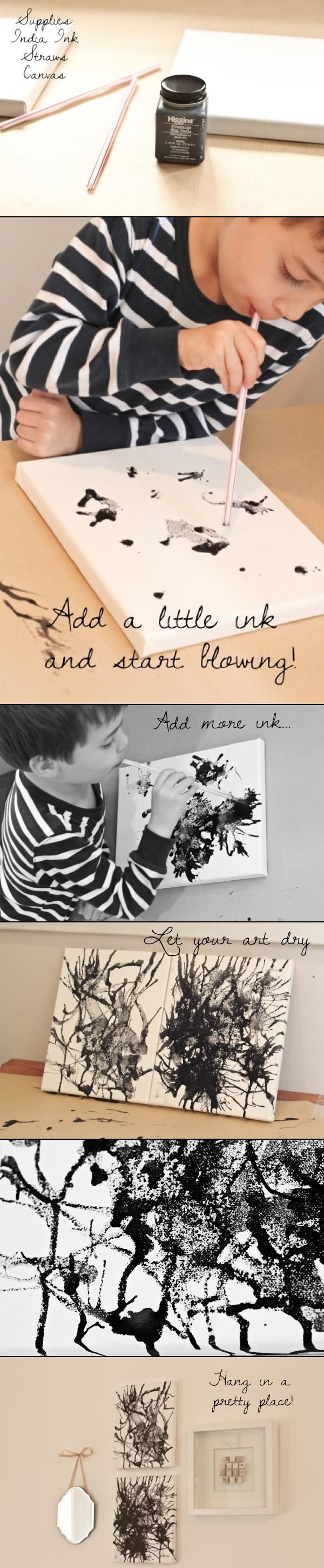 "I like this one because all of my kids can do this.  Don't want them sucking up anything, but this one prevents that by putting the ink/paint on the paper/canvas and blowing!  Nice :) ""India Ink Art For Kids - Monochromatic homemade abstracts-- love this idea!"""