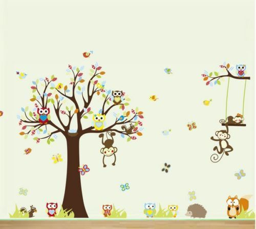 Nursery Tree Animal Owl Wall Stickers Monkey Jungle Baby Room Decal Mural Art