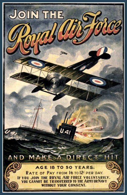 WWI British Royal Air Force Poster ,e Posters. This one was an old recruiting Poster issued by the Royal Air Force during World War I, 1914-18. It was printed to urge young men to join the Royal Air Force about 1915. The poster is very evocative of the age. I will be listing more of these Posters in the coming days - please check back for the new arrivals. The print will be 20cm X 25cm: 8 inches X 10 inches APPROXIMATELY and will be on heavy 230gm Gloss pa...16