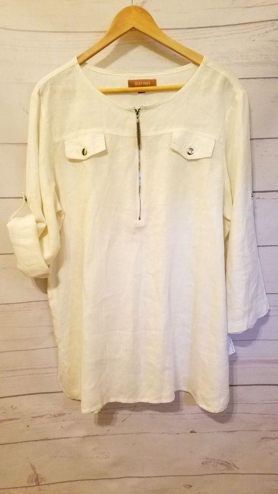 4ae5e7e7a85 Ellen Tracy Ladies Size L White Linen Tunic Top Roll Tab Sleeves Blouse  #EllenTracy #Blouse