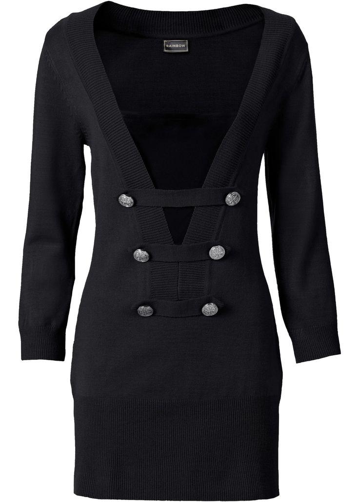 Pullover Nero - BODYFLIRT boutique è ordinabile nello shop on-line di bonprix.it da ? 23,99. Pullover lungo, con scollo a V e bottoni decorativi.