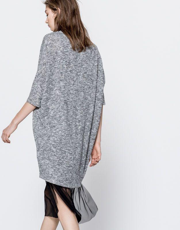 Pull&Bear - mujer - ropa - vestidos - vestido silueta cocoon - gris oscuro - 05394314-V2017