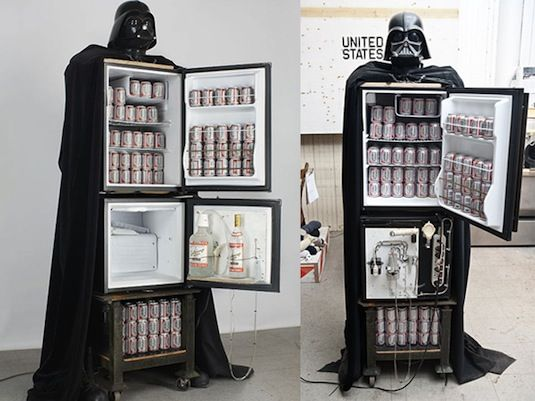 "Darth Vader Beer-Vodka Fridge is the Pinnacle of Art and Technology-An art project that gives new meaning to ""form and function"" #home #decor"