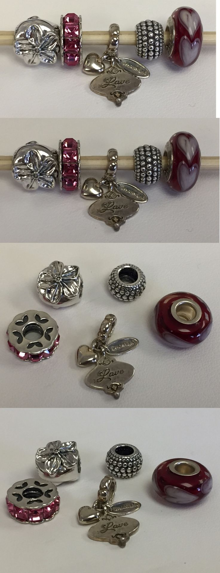 Fine Charms and Charm Bracelets 140956: New Lot Of 5 Authentic Chamilia Charm Bead Sterling Silver~ Love, Hearts Flowers BUY IT NOW ONLY: $42.0