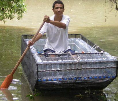 Brilliant! Boat made from recycled plastic bottles.