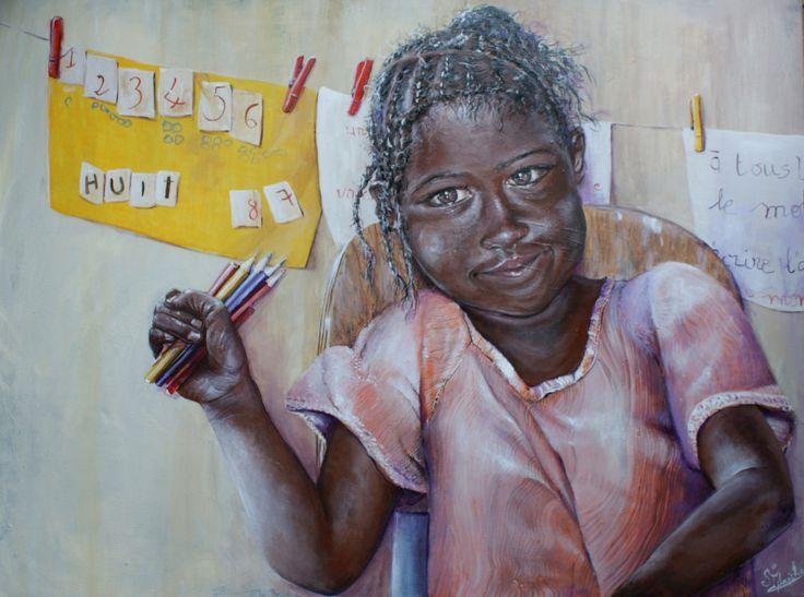 Puissions-nous offrir aux enfants du Monde, le mot AMOUR, avec lequel ils dessineront le monde de demain! Acrylique sur toile Deguane à l'Ecole Soxna Beye Il est plus que jamais d'actua…