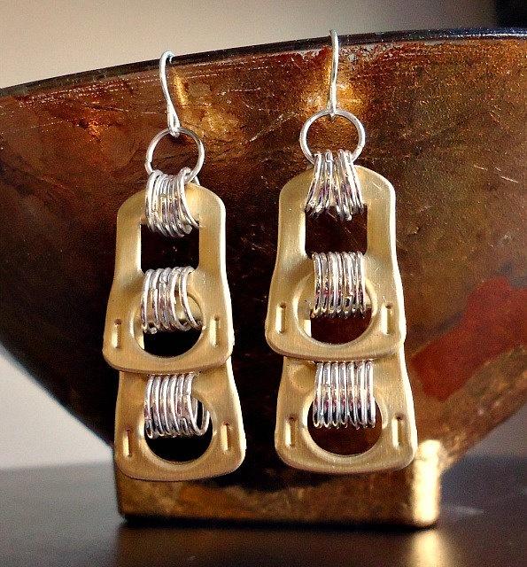 Recycled Pop Tab Earrings - Two Tone. $10.00, via Etsy.