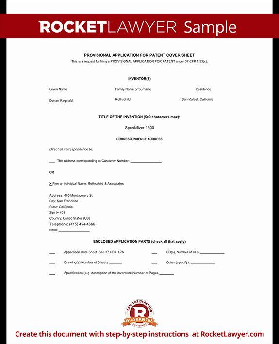 Provisional Patent Application Form Elegant Provisional Patent Application Form Free Provisional Patent Application Patent Application Job Application Template