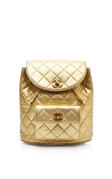 Chanel Gold Lambskin Large Back Pack by What Goes Around Comes Around for Preorder on Moda Operandi