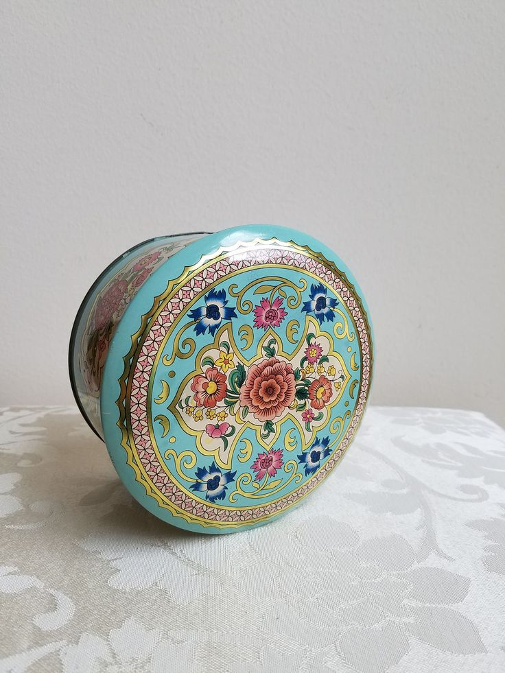 Vintage Tin Metal Box By Daher in Robin's Egg Blue With Flowers, Round Metalware Floral Storage Container Made in England by vintagenowandthen on Etsy