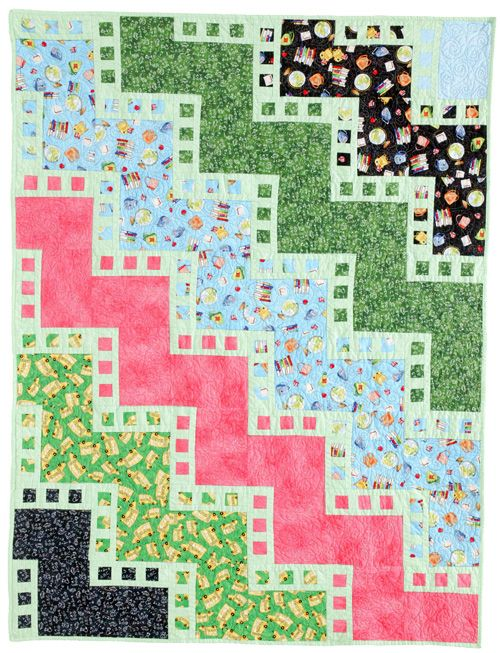Back to School Party: This version of Frame by Frame was made by Gayle Brown using School Days fabrics by Melissa Saylor for Quilting Treasures.: Back To School