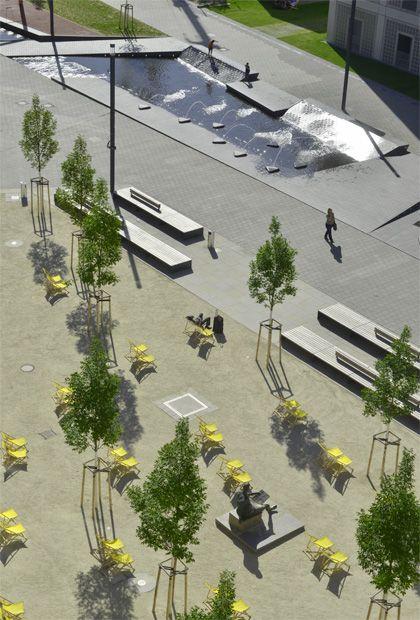 Stuttgarts größtes Wasserspiel auf dem Mailänder Platz. Brunnen aus belgrano® Naturstein von BESCO.
