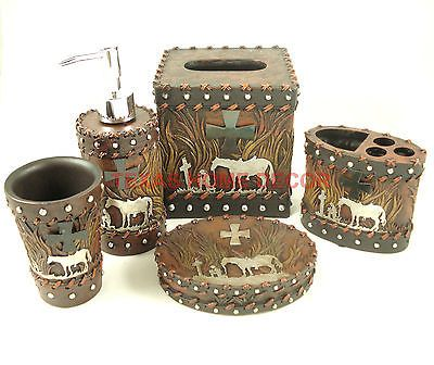 Western Star Flowery Bathroom Accessory Set 5 Pieces Rustic Leather Look Studs Accessories Sets And Bathrooms