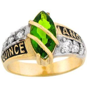 10k Gold 15 Quiceanera Synthetic Peridot August Birthstone CZ Ring Jewelry Liquidation. $254.66. Made with Real 10k Gold!. Comes with FREE fancy black leatherette ring box!. Made in USA!. Available in 12 Colors!. Save 69%!