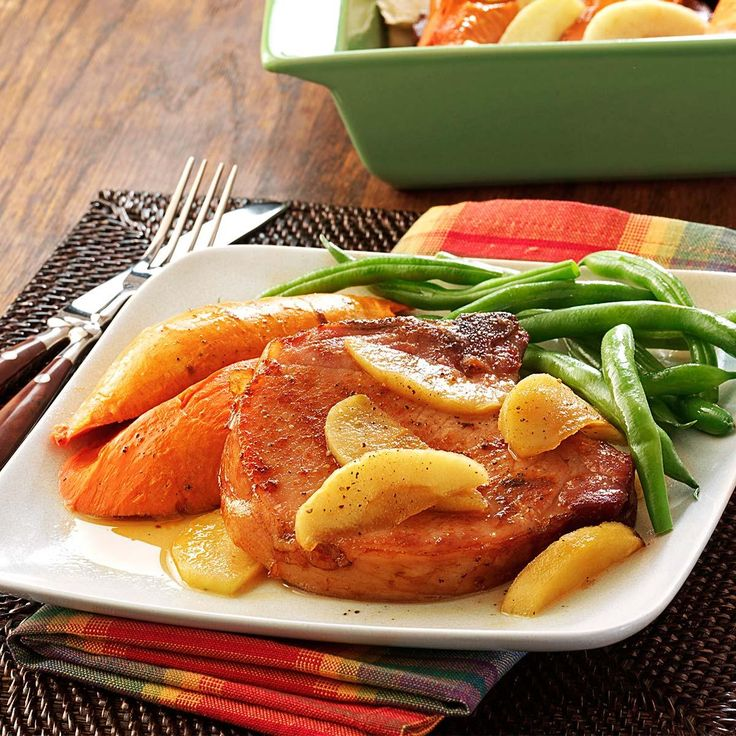 Smoked Pork Chops with Sweet Potatoes Recipe -Apple and sweet potato flavors combine so nicely with pork. My family enjoys simple dinners like this one.—Helen Sanders, Fort Myers, Florida