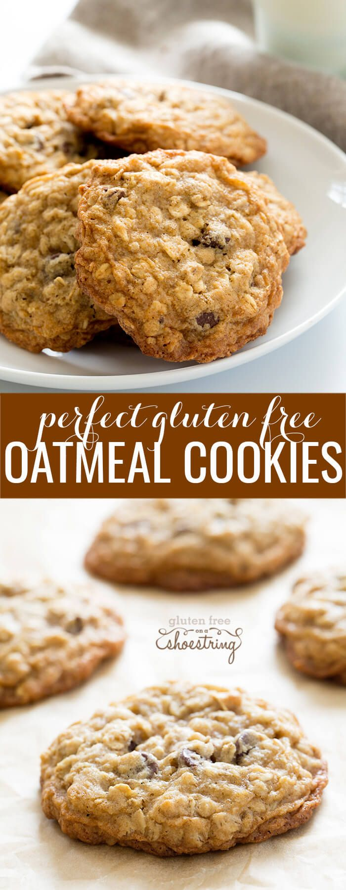 This simple recipe for thick and chewy gluten free oatmeal cookies is crispy around the edges, soft and chewy the rest of the way through. In other words, perfect.