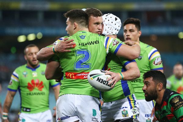 Jarrod Croker of the Raiders celebrates with team mates after scoring a try during the round 21 NRL match between the South Sydney Rabbitohs and the Canberra Raiders at ANZ Stadium on July 29, 2017 in Sydney, Australia.