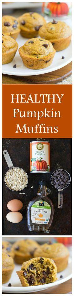 Healthy Flourless Pumpkin Muffins- made with whole grain oats, pumpkin puree and almond butter. No oil, refined sugar, or gluten!