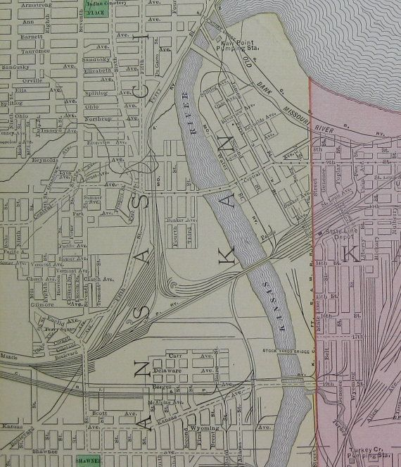 Kansas City Map Of Kansas City Missouri 1899 Map Travel Gallery Wall Art Gift For Birthday Wedding Anniversary 6108