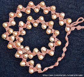 Collana all'uncinetto con perle!!! Schema.