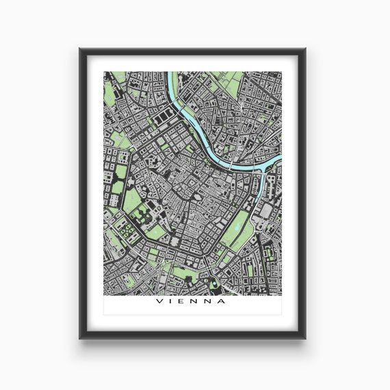 Vienna Austria / City Map Print / Street Map / Buildings / Vienna Map