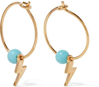 IAM by Ileana Makri - Mini Thunder Gold-plated Turquoise Hoop Earrings - one size