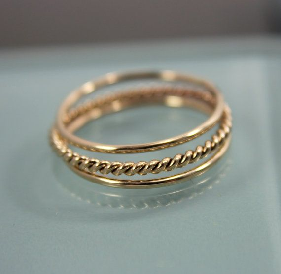 Set of 3 14k SOLID Yellow Gold Stack 1 Very Skinny Rope Twist Infinity Ring  2 Thin Round Simple Stacking Band Ring  Shiny Finish