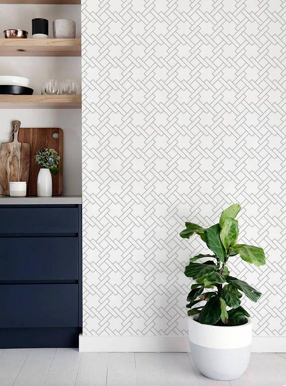 Square Links Geometric Pattern Peel Stick Fabric Wallpaper Etsy Geometric Pattern Wallpaper Fabric Wallpaper Wallpaper Roll