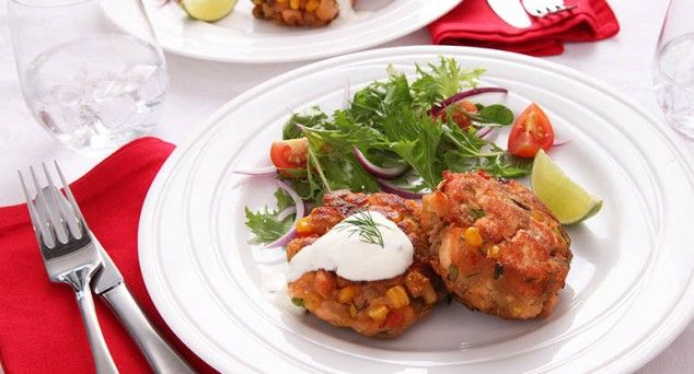 Serve up these mouth-watering Salmon Cakes from Tablespoon this Valentine's Day.  #seafood #valentinesday #recipe