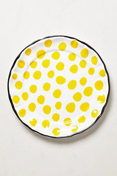 Yellow pois White Black pottery ceramic clay art plate Dot Pop Dinnerware by Anthropologie @Luvocracy