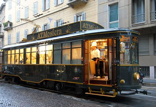 Restaurant on a Tram? Why, of course! #dining #milan #trams