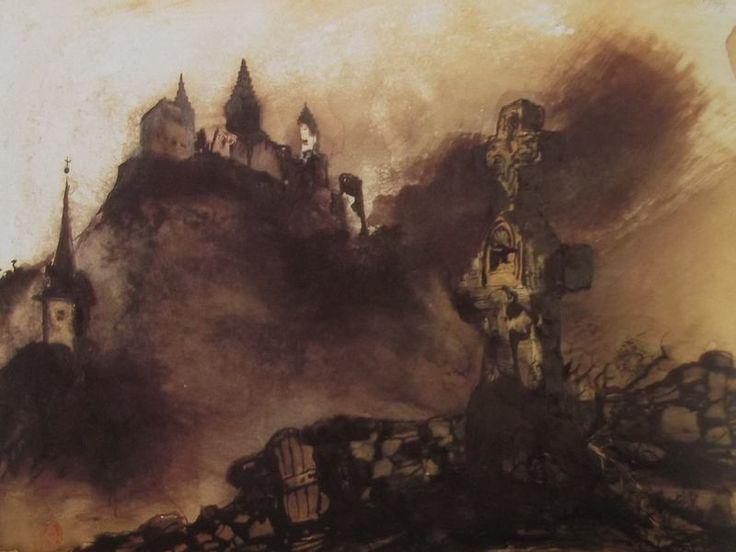 """Ce détail d'un dessin de Victor Hugo représente un château fort juché sur un promontoire, empourpré (par le soleil couchant ?) et, au premier plan, une croix funéraire... - Lié au poème """"Joies du soir"""" du recueil """"Les Contemplations"""" (""""Les Luttes et les Rêves"""") de ce même Victor Hugo."""
