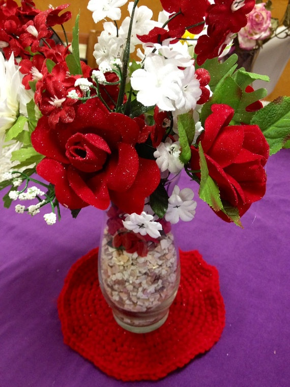 Valentine Flowers with Cotton Doily by LFDSIStore on Etsy, $12.00