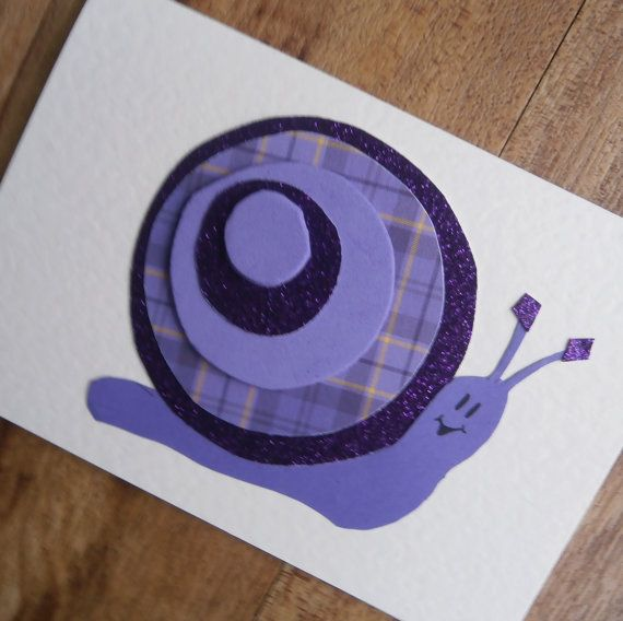 Snail card for any occasion by onelittlepug on Etsy